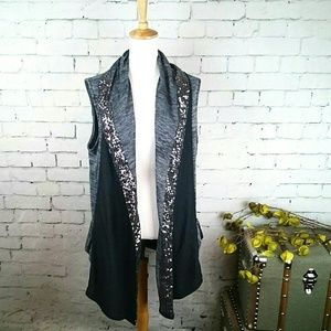 GUC Juicy Couture sequined draped neck vest